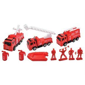 Caja 11 piezas vehiculos bomberos